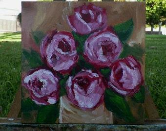 Roses Bouquet Flowers in a Vase Original Painting Art by Artist debra alouise