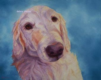 Golden Retriever Canine Dog Original Painting Art Print  by Artist debra alouise