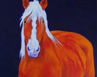 Original Oil Painting Draft Horse Progress Painting by Artist  Debra Alouise Belgian Horse Portrait Contemporary art