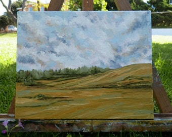 Julian Hills Landscape Original Oil Painting Julian Farm Fields Sky San Diego California by Debra Alouise