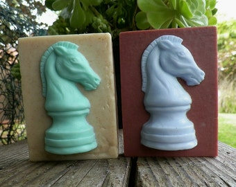 The Knight Horse Chess Piece Silicone Soap Full Soap Bar with Raised Horse Mold Artist Debra Alouise Mens Fathers Day Holiday DIY Craft USA