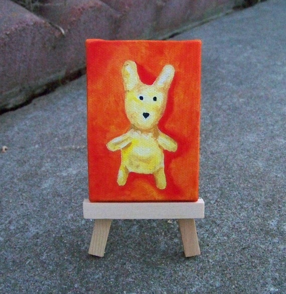 Original Oil Painting Bunny Rabbit Mini Painting Dollhouse Aceo Colloectible Art Nursery Room by Artitst debra alouise