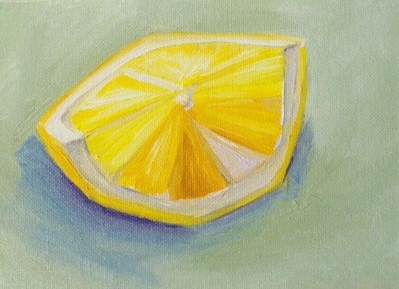 Lemon Slice Original Oil Painting