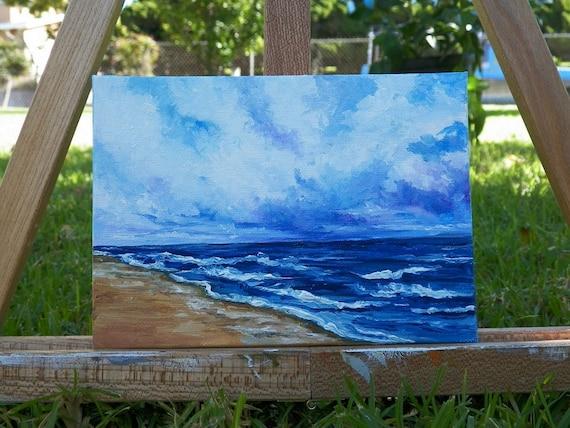 Pacific Beach Storm Original Oil Painting Seascape Ocean Beach Waves Water