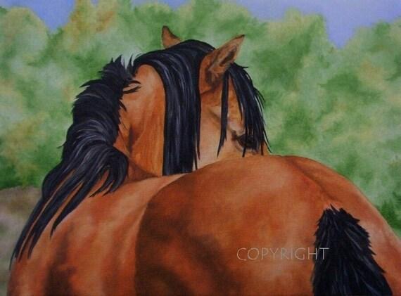 Horse Beautiful Horse Original Painting Art Print by California Artist Debra Alouise