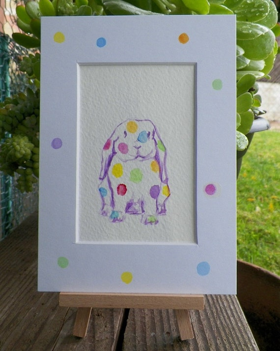 Pickles the Poka Dots Bunny Rabbit Lop Eared Watercolor Art Original Painting by Artist debra alouise