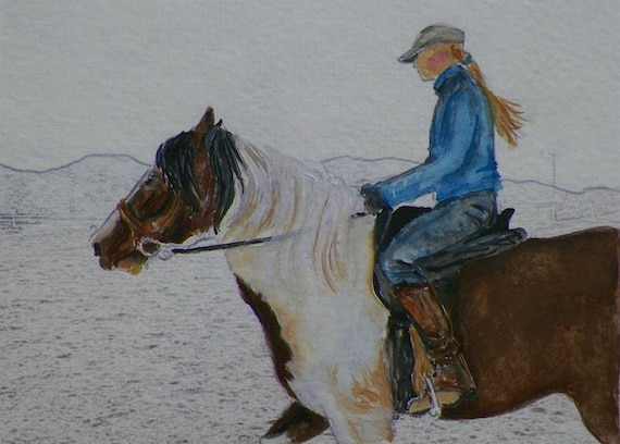 Reserved for Chris R Schooling a Young Horse Close Up Training  Horses Watercolor Original Painting by Artist debra alouise