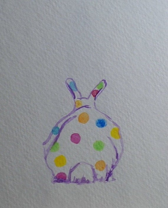 Put a Poka Dots Bunny Rabbit on Your Wall Purple Watercolor Art Original Painting by Artist debra alouise