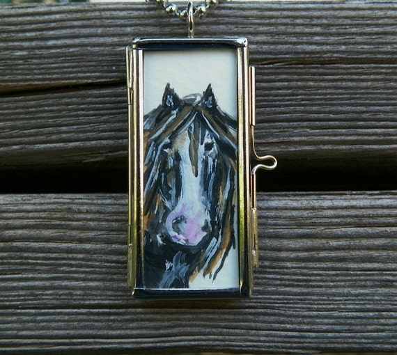 See Photo NEW Chain Horse Watercolor Painting Equine Sketch Original Art Framed Pendant Locket by Artist debra alouise