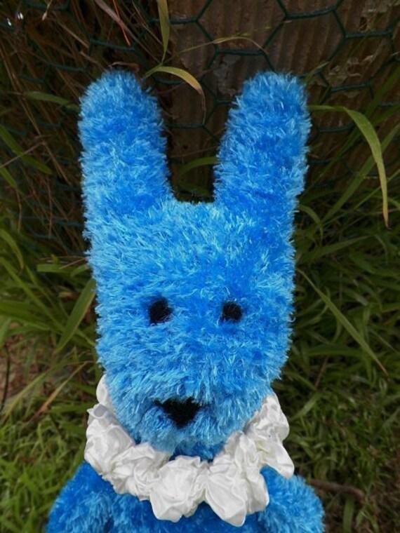 FIZZ the Huggable Handmade FUZZY Blue Glove Bunny Doll Toy Rabbit Soft ...friend of sock monkey & Walt