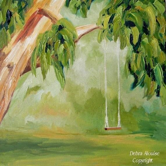 Tree Swing Original Oil Painting Landscape Art Impressionist