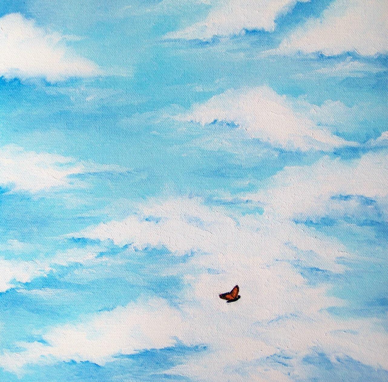 Butterflies flying in formation
