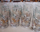 Vintage Antique Boho LIbbey Glass Tumblers Persian Inspired