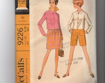 Vintage McCalls Teen and Junior Jacket Skirt and Shorts Pattern