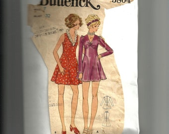 Vintage Butterick Junior Petite and Misses' One Piece Dress Pattern 5804