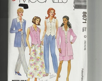 McCall's Misses'  Jacket, Pants, and Skirt Pattern 8671