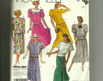 McCall's  Misses Top, Skirt and Bow Tie Pattern 2988