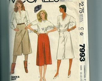 Vintage McCall's Misses' and Junior Petite Skirts Pattern 7993
