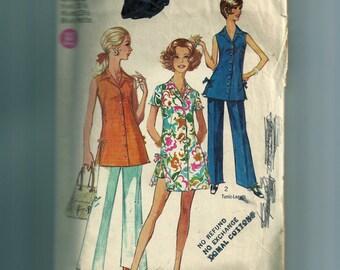 Vintage Simplicity Miss Petites' Pants , Mini Dress or Tunic Pattern 8801