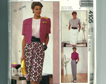 Vintage McCall's Misses' Skirt and Pants Pattern 4105