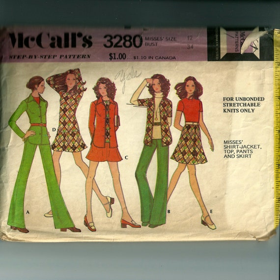 Vintage McCall's Misses' Shirt-Jacket, Top, Pants and Skirt Pattern 3280