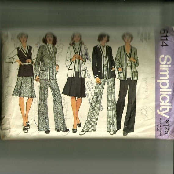 Vintage Simplicity Misses' Unlined Jacket, Top, Skirt and Pants Pattern 6114