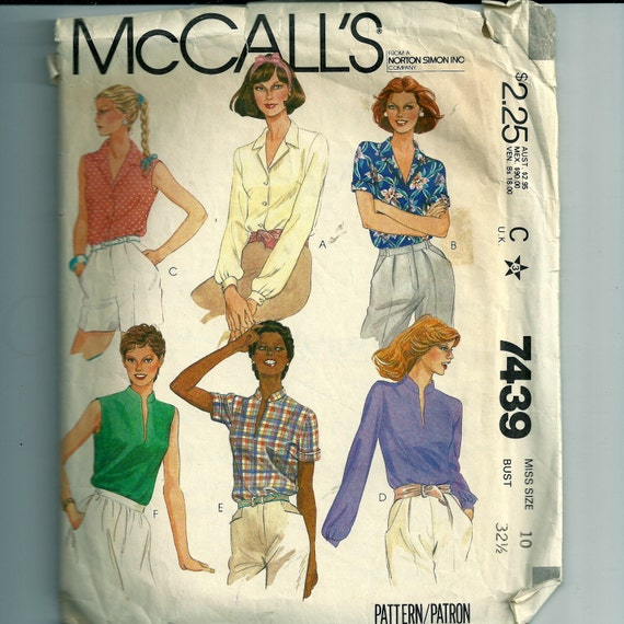 Vintage McCall's Misses' Shirt Pattern 7439