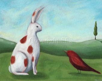Rabbit Print, Rabbit Folk Art, Cute Print, Friendship Art, Bunny Rabbit, Nursery Decor, Artwork for Children, Kids Wall Art, Whimsical Print