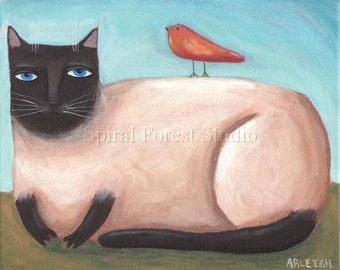 Siamese Cat Print, Cat Folk Art, Siamese Cat Art, Cat Illustration, Cute Cat Print, Friendship Art, Nursery Picture, Cat and Bird, Whimsical