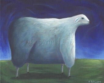 Sheep Art, Whimsical Print, Sheep Folk Art, Artwork for Children, Sheep Illustration, Peaceful Print, Cute Wall Art, Primitive Decor, Kids