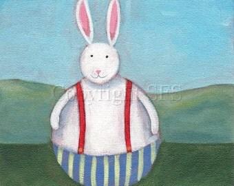 Art for Children, Rabbit Print, Whimsical Art, Cute Rabbit, Nursery Decor, Kids Room, Fun Artwork, White Rabbit, Rabbit Folk Art, Happy Art