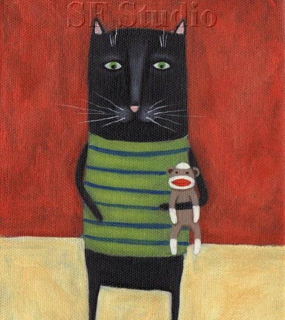 Black Cat Art  - Cat with Sock Monkey - Black Cat Print - I Love My Sock Monkey