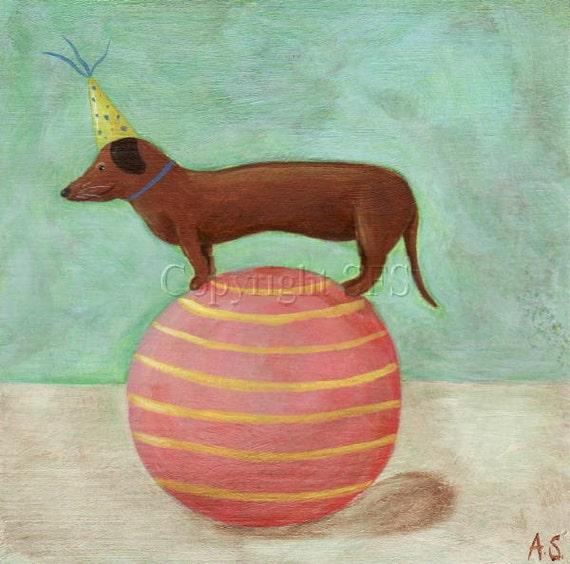 Circus Dachshund, Dog Print, Dachshund Dog Art, Whimsical Folk Art, Circus Picture, Weiner Dog, Naive Style,