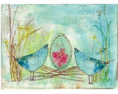 Art Card- Love Birds - print from an original mixed media collage, love birds, rose, valentine