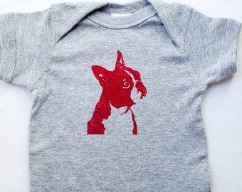 Boston Terrier Screen Print Baby Romper, Baby Shower Gift, Party Favor - 6 or 12 months - Heather dog screen print