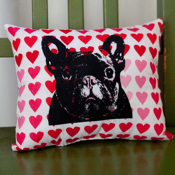 French Bulldog Hearts Pillow, dog pillow, pet pillow, red and pink hearts fabric, valentine, screen print, dog art