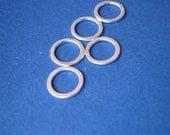 10mm 1\/2in Sterling Silver Sleek Hammered Rings- Set of 5- Supplies