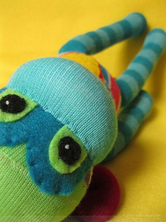 Sock Monkey :  Handmade Doll Plush Toy - Bright Rainbow of Kaleidoscopic Colors