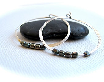 Hammered Hoop Earrings with Oxidized Beads