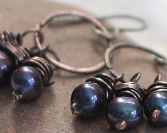 Hammered Copper Hoop Earrings Blue Pearls Antiqued Copper Jewelry