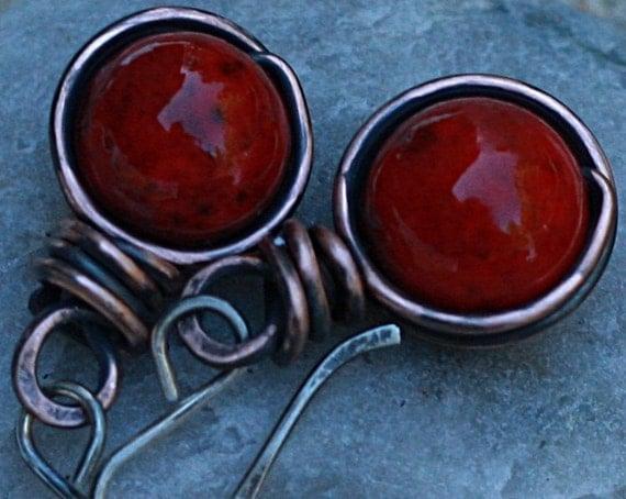 Red Copper Earrings Red Earrings