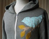 Blue Calico Love Bird Hoodie, Warm Heather Gray, Small,Medium, Large or XL