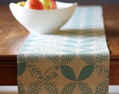 RESERVED for Evgeniya Two Teal Table Runners, Hand Printed Linen, , 13 x 72
