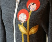 Lollipop Flower Hoodie, Charcoal Gray, Applique, Small, Medium, XLarge