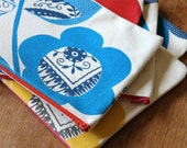 NEW Hand Printed Cotton Canvas Zipper Pouch, Scandinavian Flowers, Cobalt and Navy