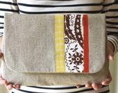 ONE OF A Kind Large Scandinavian Stripe Linen Clutch, Applique, Purse