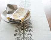LIMITED EDITION Gray Double Vine Hand Printed Table Runner, White Linen SECOND