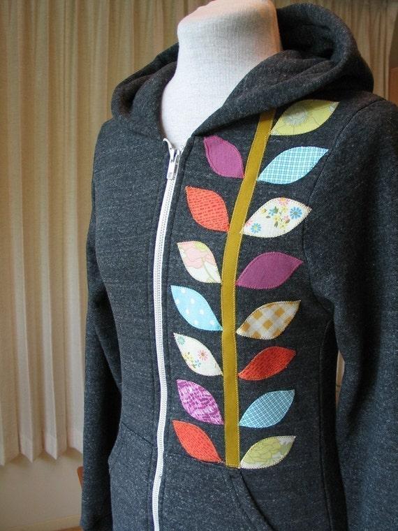 Spring Vine Hoodie, Charcoal Gray, Small, Medium, Large, XLarge, Anna Joyce