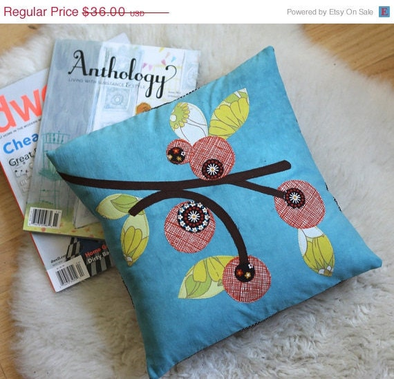 Anniversary Sale Summer Berries Pillow, Blue Hand Dyed Cotton, 14 x 14, Applique