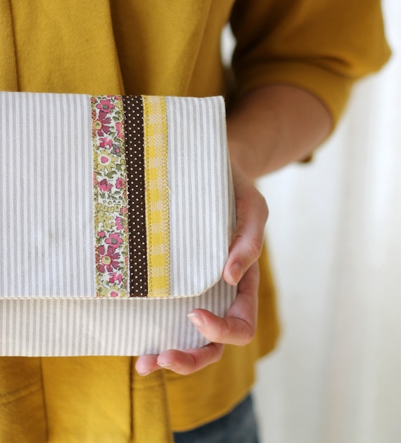 LIMITED EDITION Liberty Stripe Clutch, Gray and Cream Stripe, Lemon Yellow